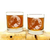 Whiskey glass set - unicorn and the moon