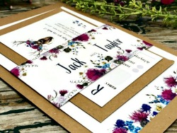 Scottish thistle and stag wedding invitations