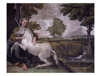 Unicorn Poster - From Loves Of The Gods Fresco, Italy