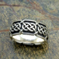 Celtic weave wedding ring, sterling silver