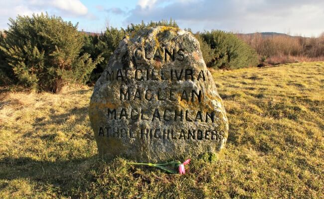 Clan grave marker at the site of the Battle of Culloden, Scotland
