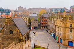 A colorful street in Edinburgh, Scotland