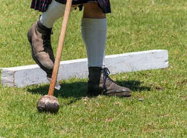 Scottish Highland Games hammer throw shoes and hammer
