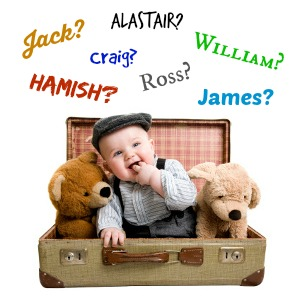 Baby sitting in suitcase surrounded by Scottish boy names