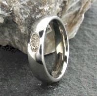 Scottish wedding ring, silver, thistle imprint