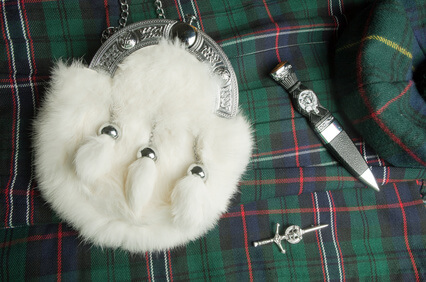 Scottish kilt accessories. Sporran, kilt pin and Sgian Dubh