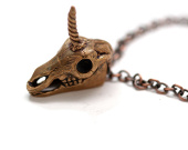 Unicorn skull pendant - reclaimed bronze