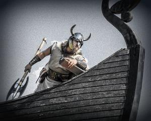 Viking invader on longship