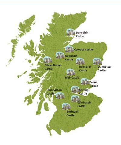 Map of the location of several Scottish castles
