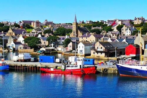 Harbor in Orkney Scotland