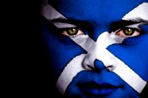 Flag of Scotland painted on child's face
