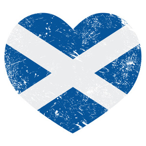Scottish Saltire flag in the shape of a heart