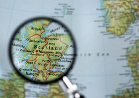 Map of Scotland, magnifying glass