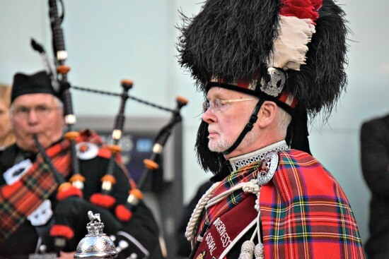 Traditional Scottish bagpipe musicians