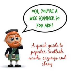 Cartoon Scotsman speaking Scottish-English