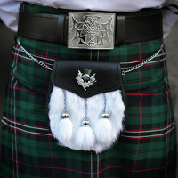 Scottish tartan kilt and 'hairy' sporran