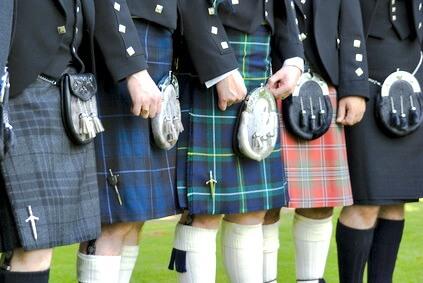 Scottish kilts in a variety of tartans